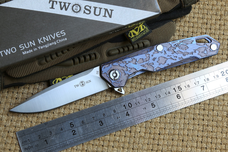 TWO SUN TS21 D2 blade Tactical ball brearing folding knife titanium camping hunting Pocket knives outdoor Survival EDC Tools two sun ts38 d2 blade tactical ball brearing folding knife titanium camping hunting pocket knives outdoor survival edc tools