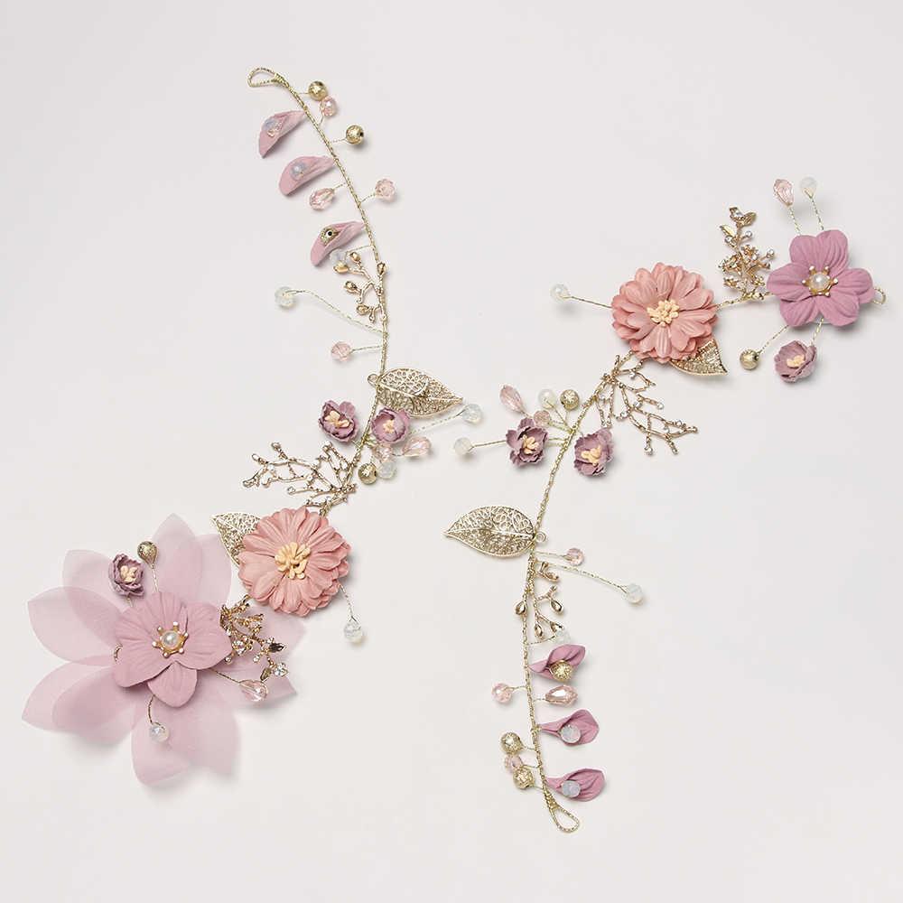 Coiffure pour future mariée bandeau accessoires de cheveux coiffure de mariage à la main violet fleur diadèmes alliage casque couronne
