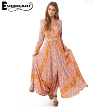 Everkaki Women Summer Dress Boho Print Dress Long Sleeve A-line High Waist Maxi Dress V Neck 2017 Gypsy Collective Lotus Gown