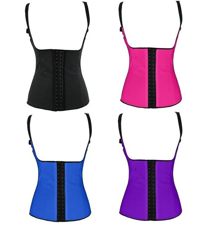 Free Shipping Sexy Womens Shoulder Strap Vest Latex Waist Cincher Latex Waist Cinchers Shapewear Body shaper Corset XS 3XL