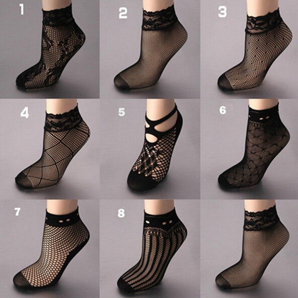 Hot Sale Fashion Sexy Women Lady Soft Black Lace Ruffle Fishnet Mesh Short Ankle   Socks   mesh ultrathin transparent nylon   sock
