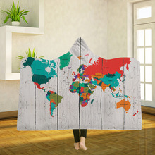 Yoga mat Hooded Blankets Magic Hat Blanket Thick Double-layer Plush 3D Digital Printing Map Series