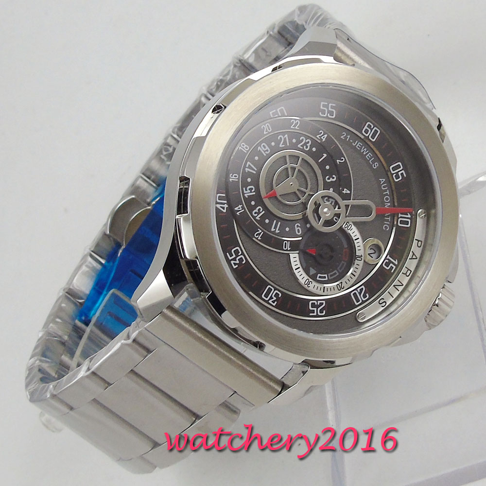 Parnis автоматические часы дайвер водонепроницаемые металлические механические часы Лидирующий бренд 44 мм черный циферблат сапфировое стекл
