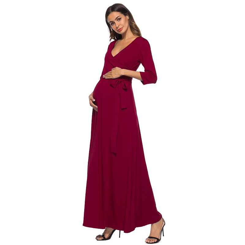 2018 New Sheath Ruffle Collar V neck long sleeve Maxi Long Elegant Maternity Dress Clothes For Photography Props chic v neck short sleeve print maxi dress for women