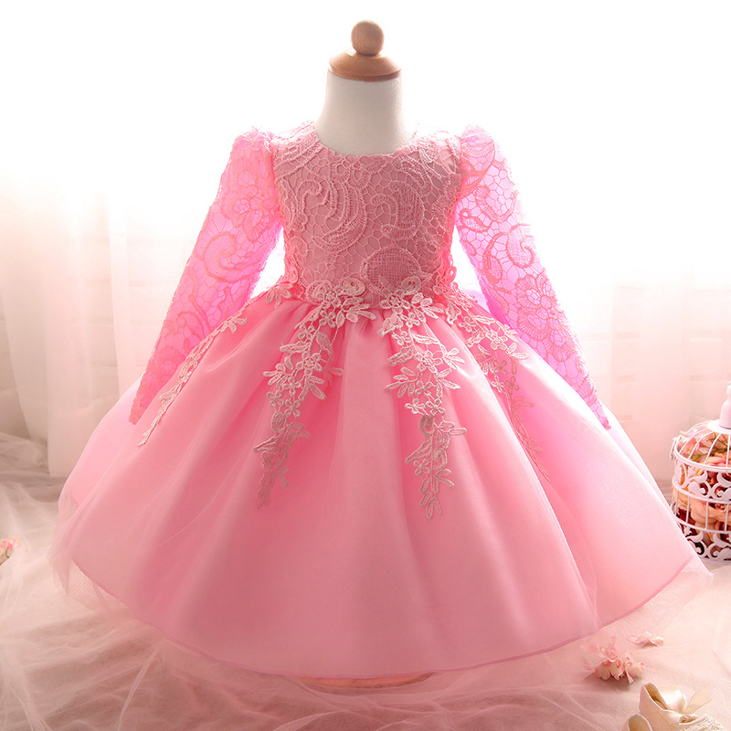 2016 new foreign trade single long-sleeved girl dress hollow lace princess dresses new year child dress 216S