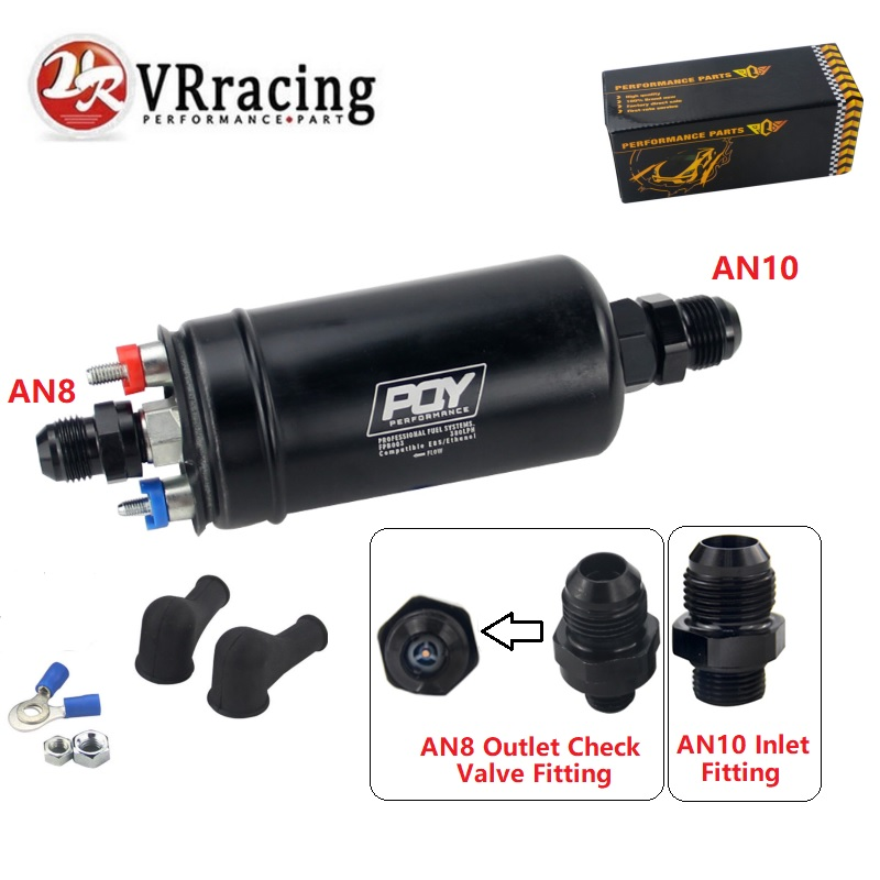 VRracing NEW PQY 380LPH Inline External Fuel Pump 10AN Inlet Check Vavle 8AN Outlet Fittings E85