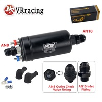 VRracing NEW PQY 380LPH Inline External Fuel Pump 10AN Inlet+Check Vavle 8AN Outlet Fittings E85 Compatible 044 Style Fuel Pump