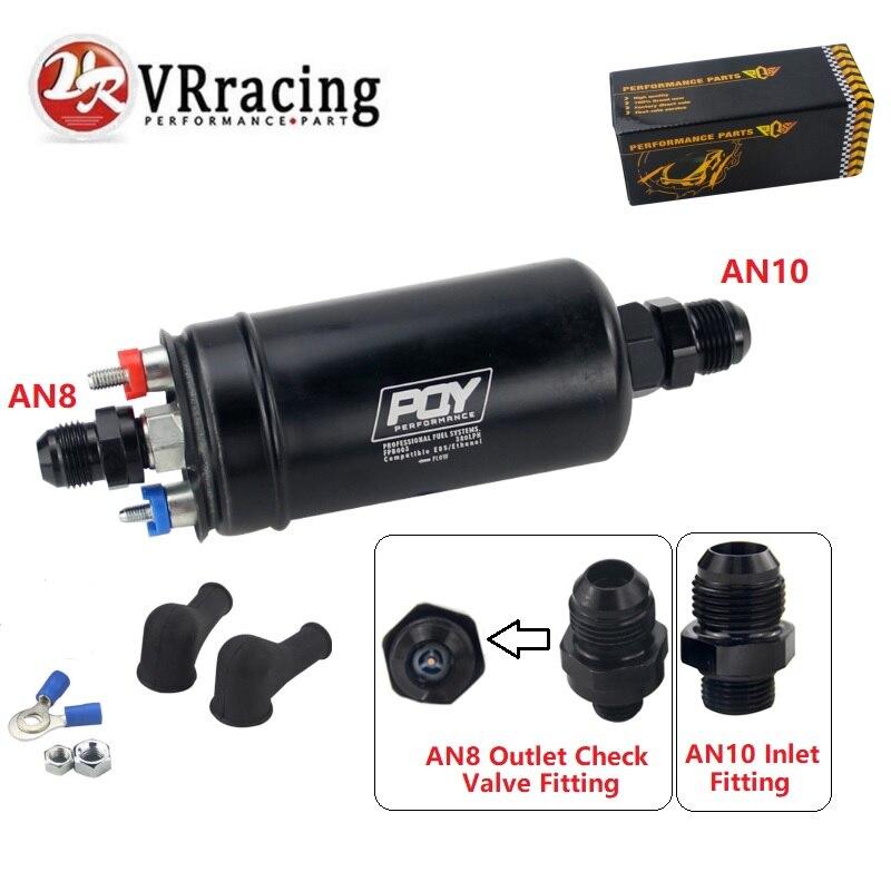 VRracing-nouveau PQY 380LPH pompe à essence externe en ligne 10AN entrée + vérification Vavle 8AN raccords de sortie E85 Compatible 044 Style pompe à carburant