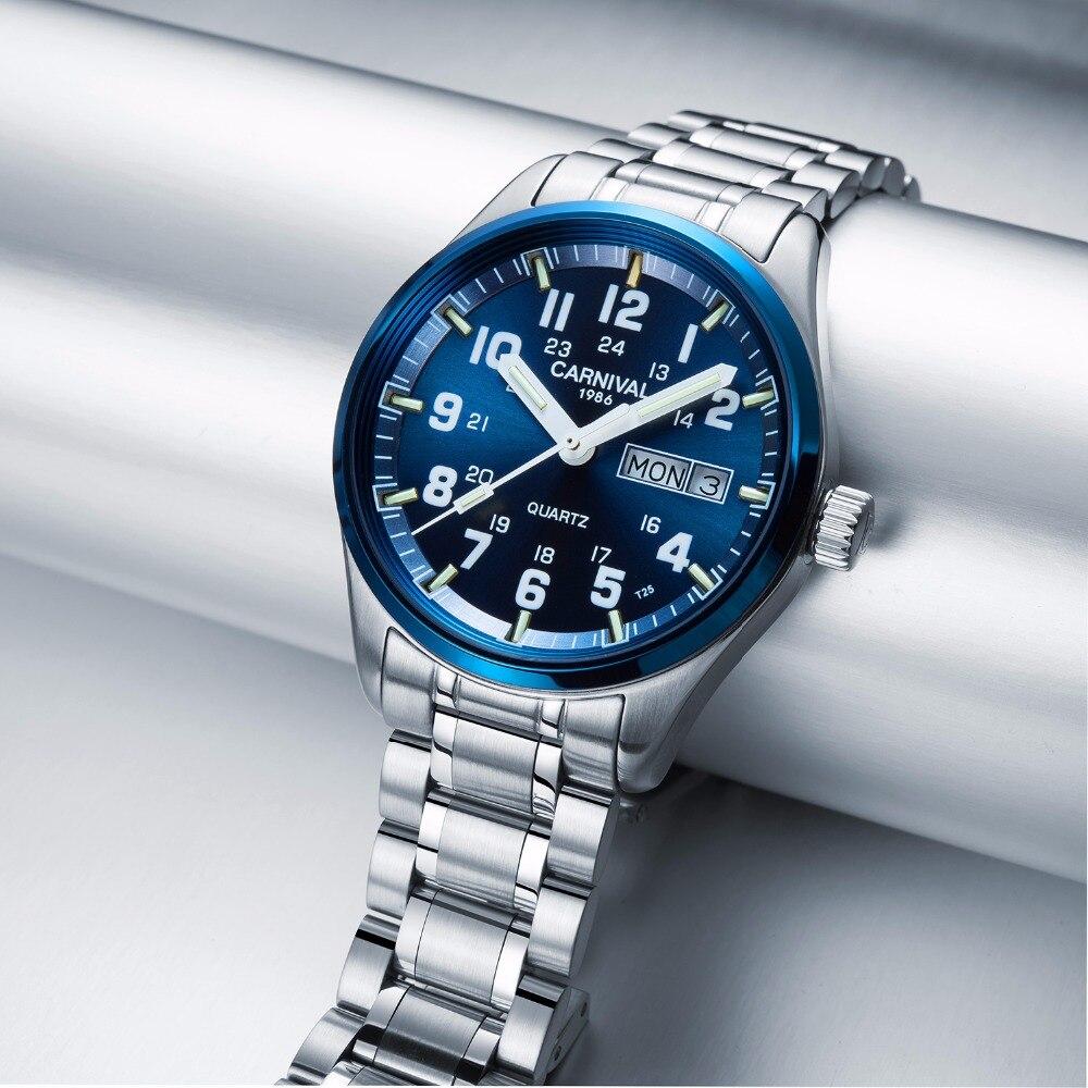 Carnaval trítio t25 luminoso duplo calendário militar suíça relógio de quartzo masculino marca luxo relógios à prova dwaterproof água 2017 - 3