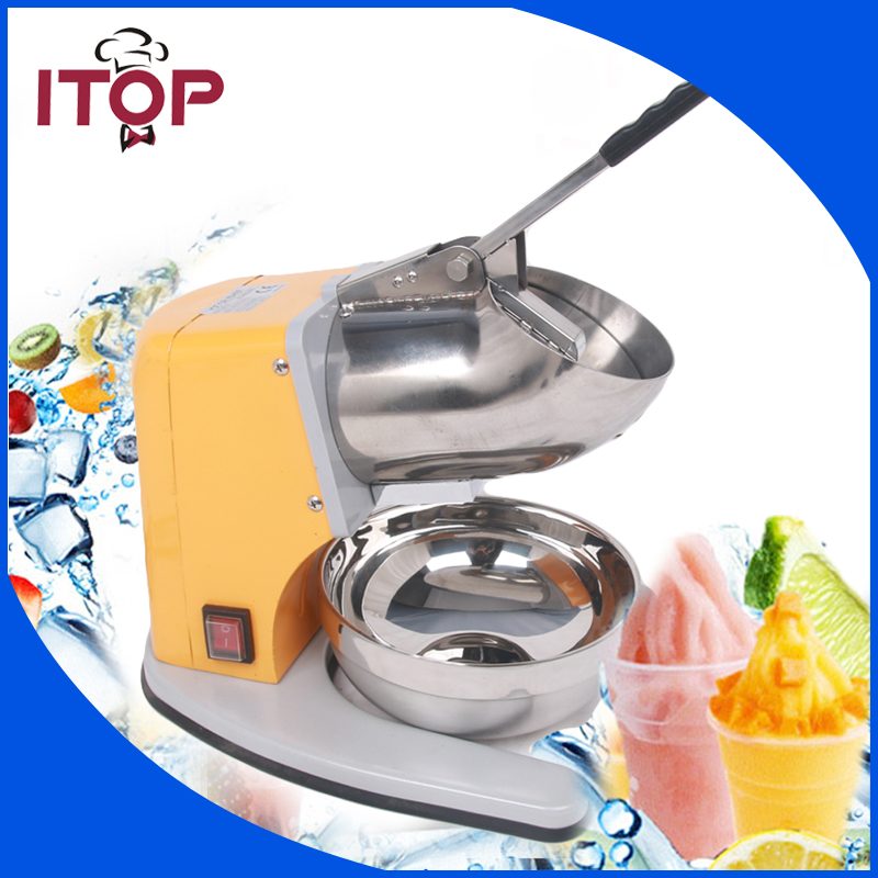 ITOP Ice Chopper 180W Yellow Iron Painting Body Stainless Steel Bowl 60Kgs/h Electric Ice Crusher Commercial Machine