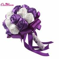 Hot High Quality Handmade Bridal Rose Silk Bouquet Bud Flower With Ribbon Rhinestone For Wedding Decoration