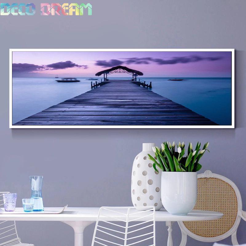 Bricolage complet galet rond diamant peinture strass Kit de broderie Hermosa plage Pier beau paysage mosaïque déco comme cadeau de passe-temps