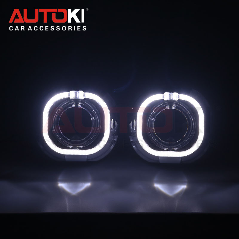 Autoki 3 0 inch Metal Bi xenon Projector Lens with White LED Angel Eyes DRL devil