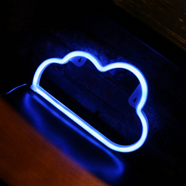 Dcrlamp Cloud Neon Night Light White Blue Color Led Lamp Decorative For Room Holiday Lights Lighting Child Kids Cartoon Gift