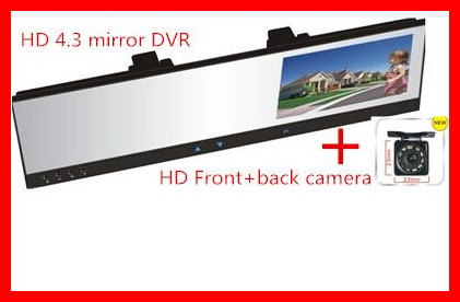 car camera dual lens HD 4.3 mirror DVR recorder camera+ HD CCD front/back camera 4.3 car dvr rearview mirror +HD IR led camera цены