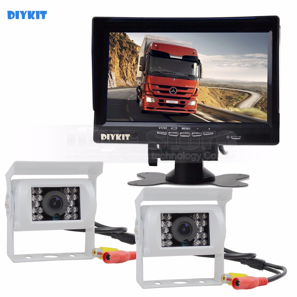 DIYKIT IR Night Vision CCD Rear View Car Camera White + 7 inch HD TFT LCD Car Monitor Reverse Rear View Monitor Screen hot sale dvr car covers 7 car lcd tv dvd screen ccd 170 degree ear view night vision park monitor camera kits diagnostic tool
