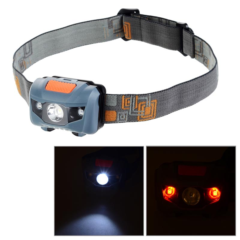 Mini CREE-XM-L T6 4-Mode White LED + Red LED Headlamp Warning Light - Black + Grey rechargeable led light new 003a 3 mode white zoom led headlamp black 4 x aa