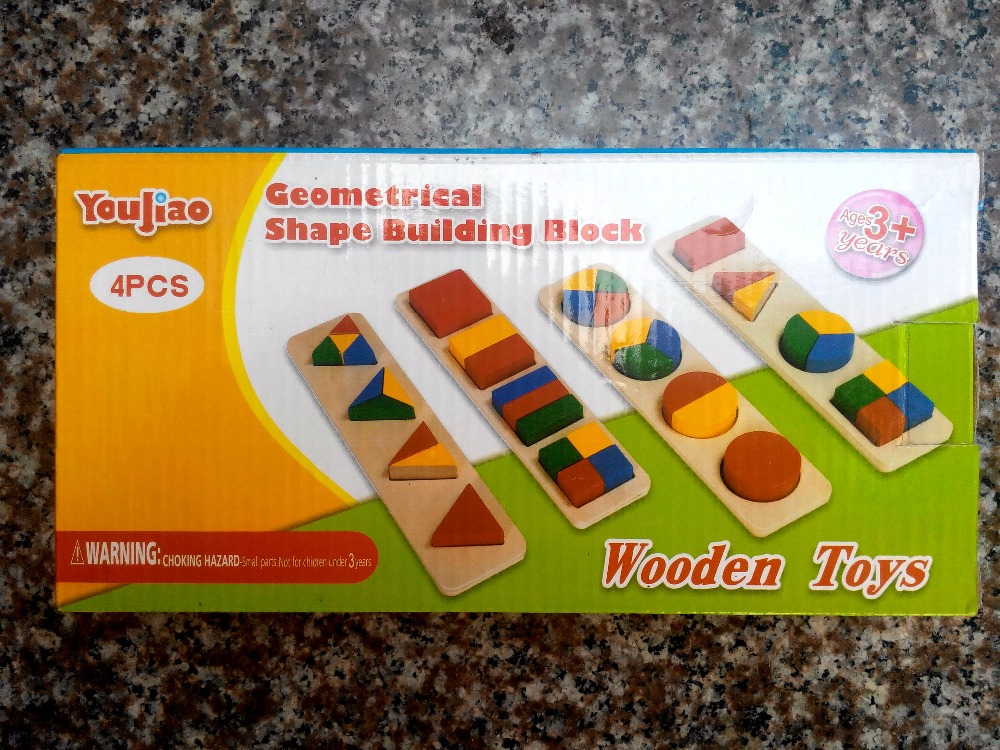 Free shipping Childrens Wooden 4PCS Geometric Building Blocks toys set, Montessori AIDS babys early education Blocks toy gift
