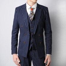 Latest Coat Pant Designs Navy Blue Stripes Men Suit Jacket Style Suits Slim Fit Prom Tuxedo 3 Piece Custom Groom Blazer Ternos