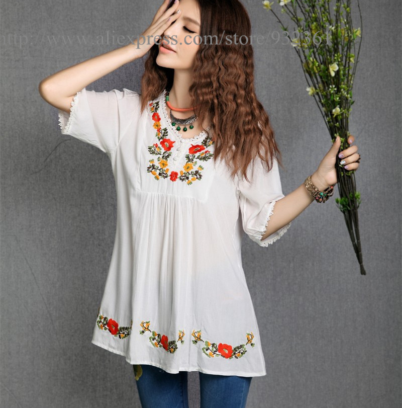 Buy women 39 s floral embroidery t shirt for White floral shirt womens