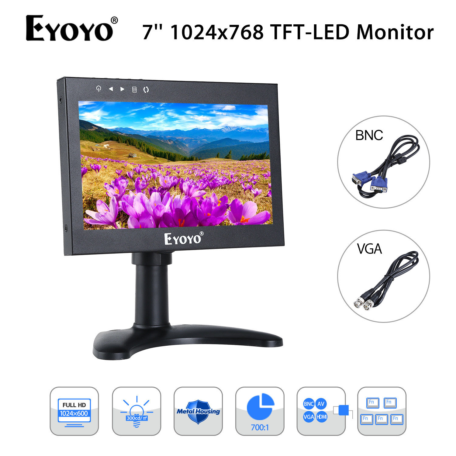 EYOYO 7'' FHD LCD Display 1024x600 300cd/m2 Video Audio VGA BNC HDMI Monitor Metal Housing Built-in 5000MHA Rechargeable Battery
