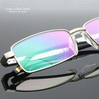 Novos Homens design Simples Armação de Óculos de Marca Óculos de Armações De Metal Óculos Óculos Ópticos com Deslizamento de Alumínio Tipo U pad nariz RM00470