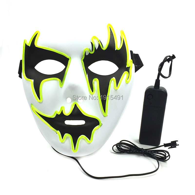 Popular Glittery EL Wire Thread Cosplay Glowing Mask Neon Led Strip Beauty Dance Queen Mask as Dark in Glow Event Party Supplies 10 colors neon led bulbs luminous led light 3d queen letter couples cap el wire glowing rope tube outdoors sport hat as gift