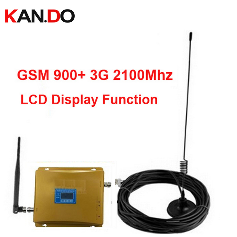 Dual Band Repeater GSM 900Mhz Booster+3G Repeater Dual Band Booster Kits W/ Cable &antennas,LCD Display Booster WCDMA Repeater