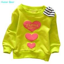 Юмор Медведь Весна Осень дети одевая шею майка мода мальчики девочки футболка с Длинным рукавом детская одежда