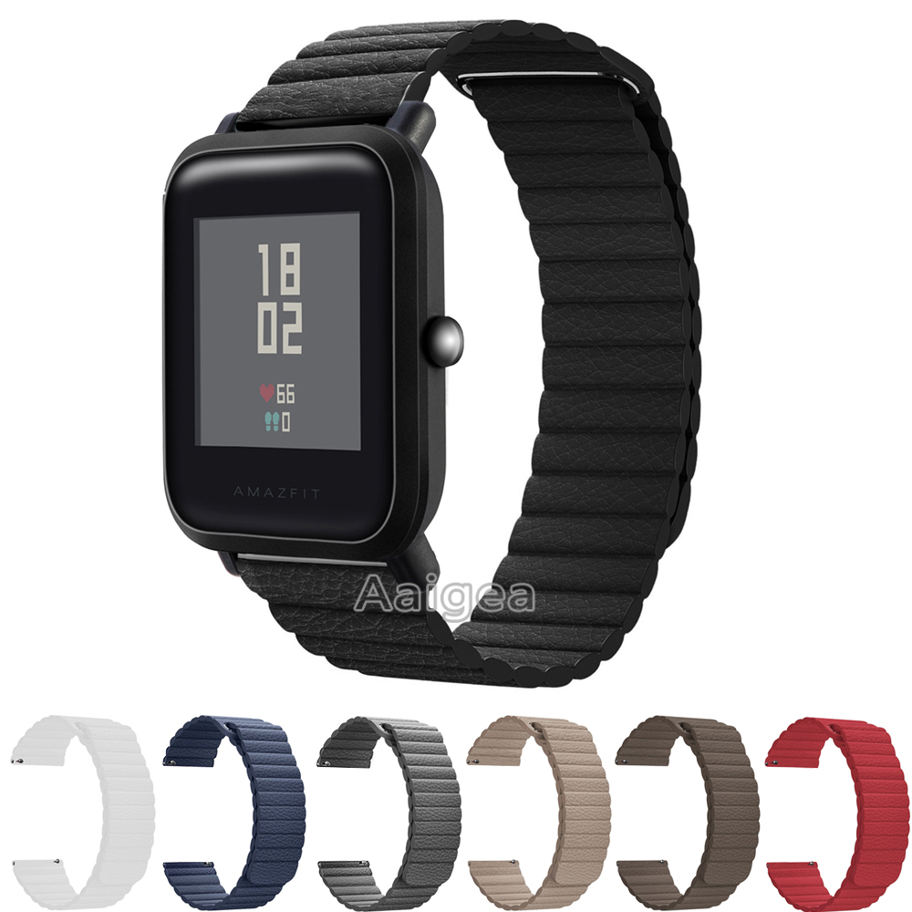 Genuine Leather Loop Magnetic Band Strap For Huami Amazfit Bip BIT PACE Lite Youth Smart Watch Closure Buckle Wristband Bracelet 3in1 milanese loop strap for xiaomi huami amazfit bip bit youth band edition smart watch heart rate bracelet screen protector