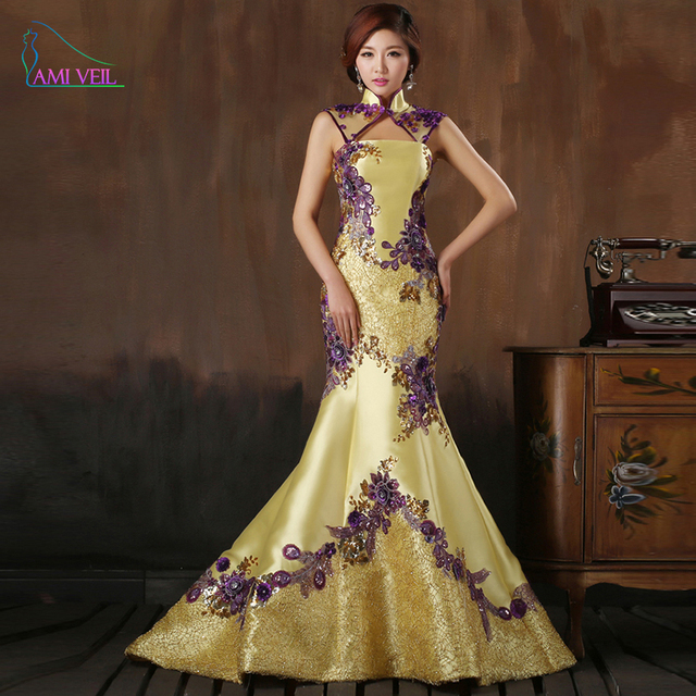 2017 Chinese Style Blonde Wedding dresses long married chinese ...