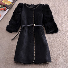 Spring Woollen Coat Jacket Women Outerwear Natural Rabbit Fur Sleeve Patchwork Wool Coat Vintage Thick Black Coat Parka Overcoat