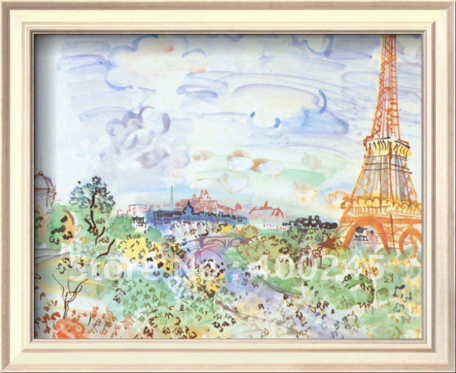 Современная Картина Пейзаж La Tour Eiffe от Raul Dufy холст Художественная репродукция ручной работы высокого качества