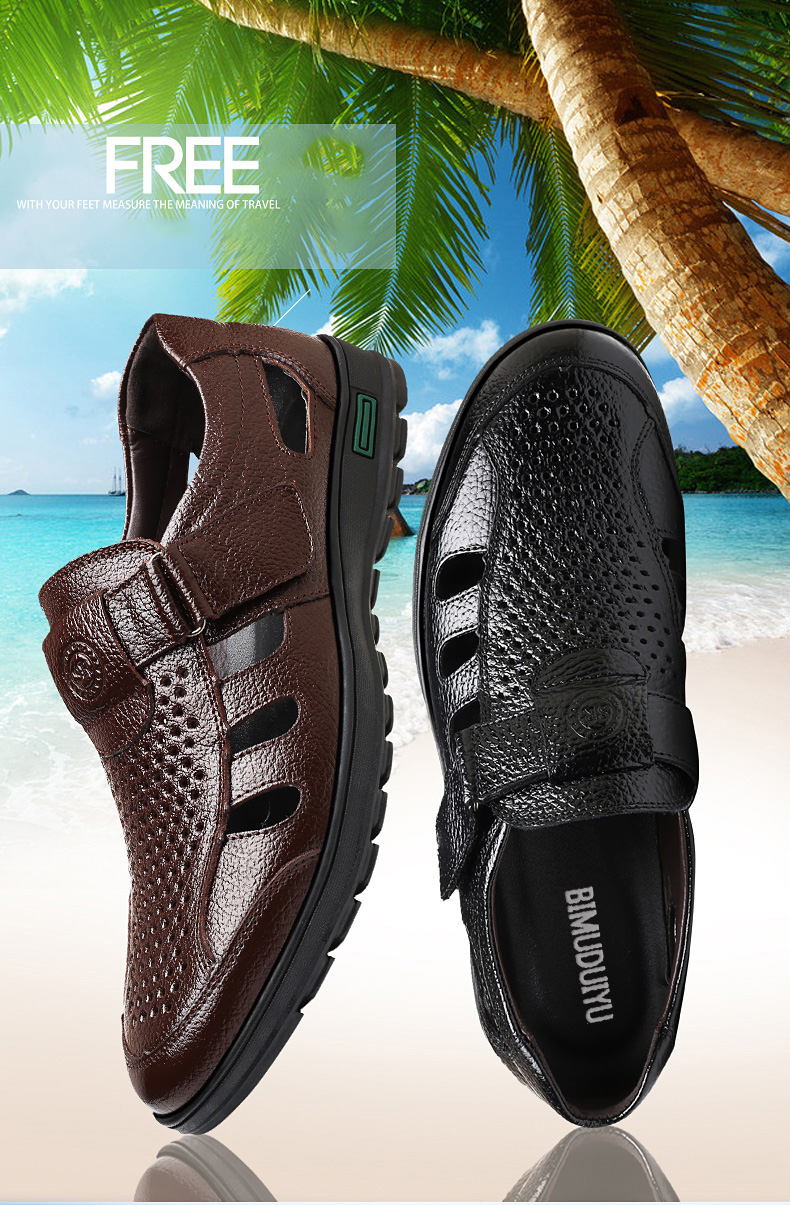 BIMUDUIYU Genuine Leather Men Summer Sandals Breathable Casual Shoes Man Closed toe Beach Shoes Rubber Sole Mens Sandals
