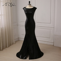ADLN Black Sequin Evening Dresses Sexy Cap Sleeve Slit Mermaid Evening Gowns Plus Size 7 Colors Available Vestidos de Fiesta