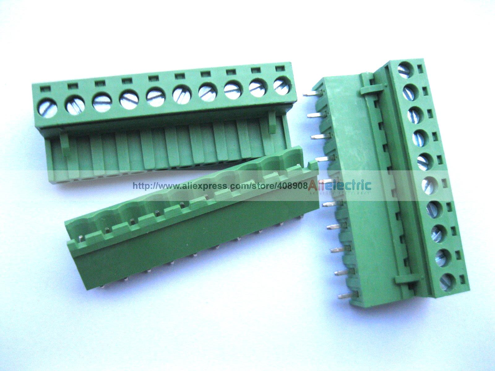 50 Pcs 5.08mm Straight 10 Pin Screw Terminal Block Connector Pluggable Green [vk] 553602 1 50 pin champ latch plug screw connectors