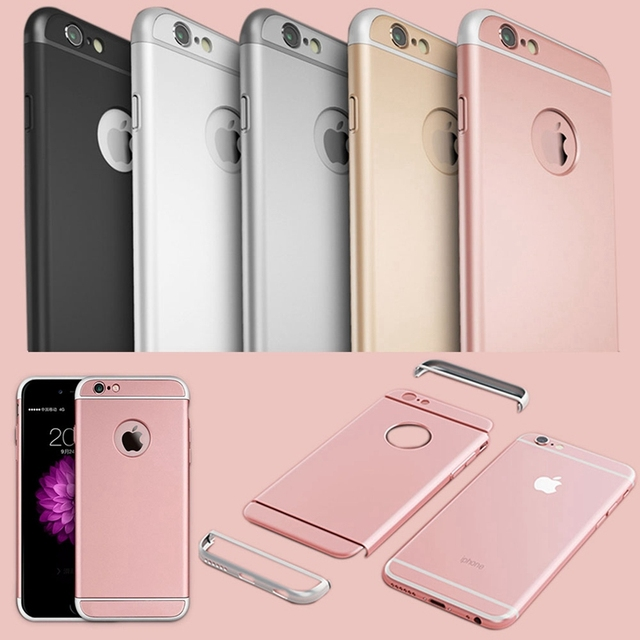 finest selection f75d4 c9f6e US $4.55 27% OFF|Luxury 3 in 1 Full Body Hard Plastic Case For Iphone 6 6S  4.7/ 6 6S Plus 5.5 Rose Gold Case Clear Logo Circle Cover Capinhas-in ...