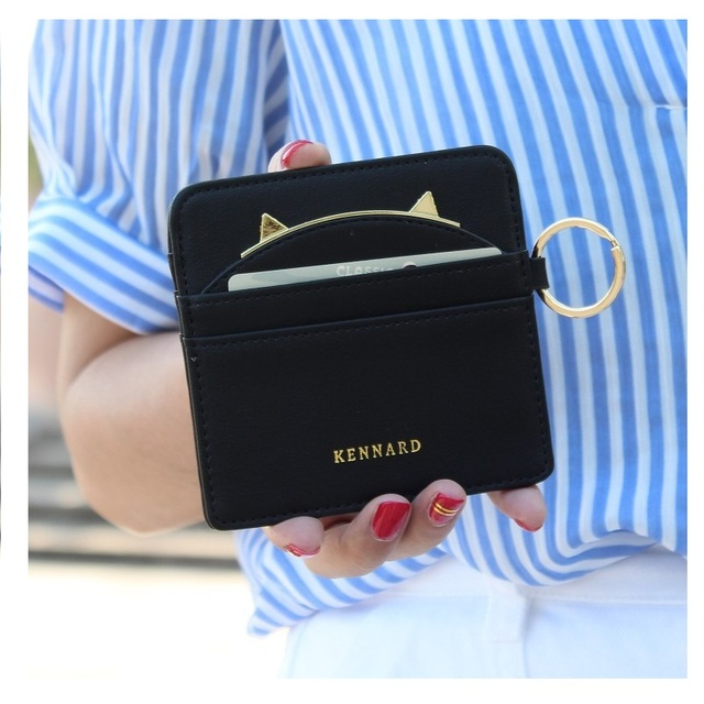 2017 card wallet business card holder pu leather key ring bus card organizer purse bag drop shipping women cute cat ears design in card id holders 2017 card wallet business card holder pu leather key ring bus card organizer purse bag drop reheart Images