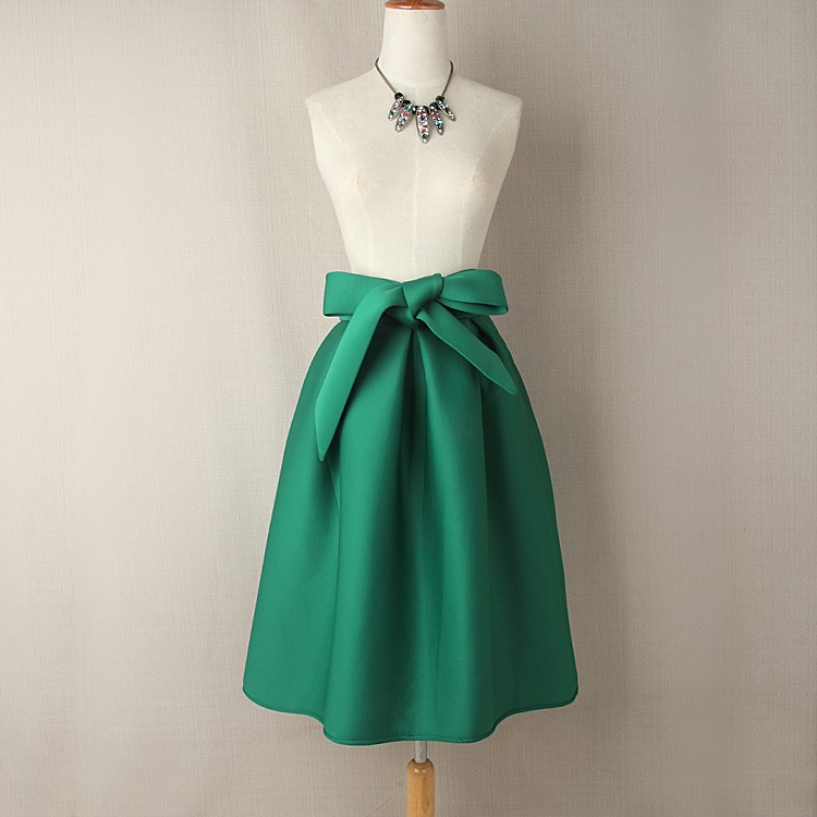 Elegant Vintage High Waist Pleated Long Midi A-line Big Bow Side Zipper Skater Skirt