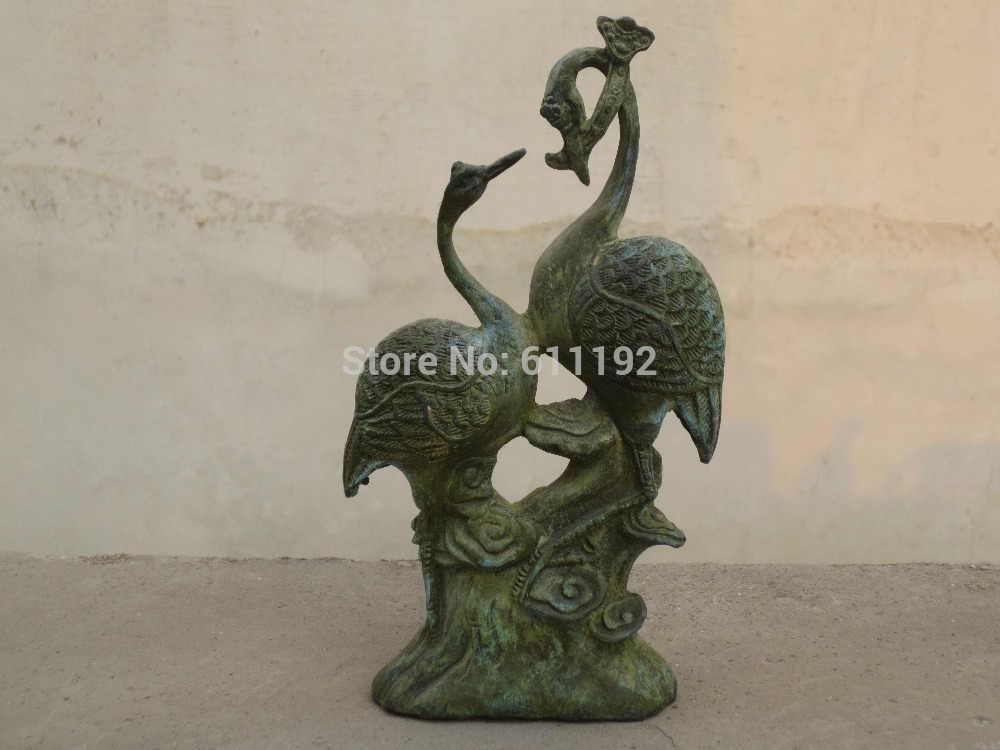 Vecchia mano-intagliato coppia Cinese casa FengShui decor bronzo fortunato Crane statua/scultura