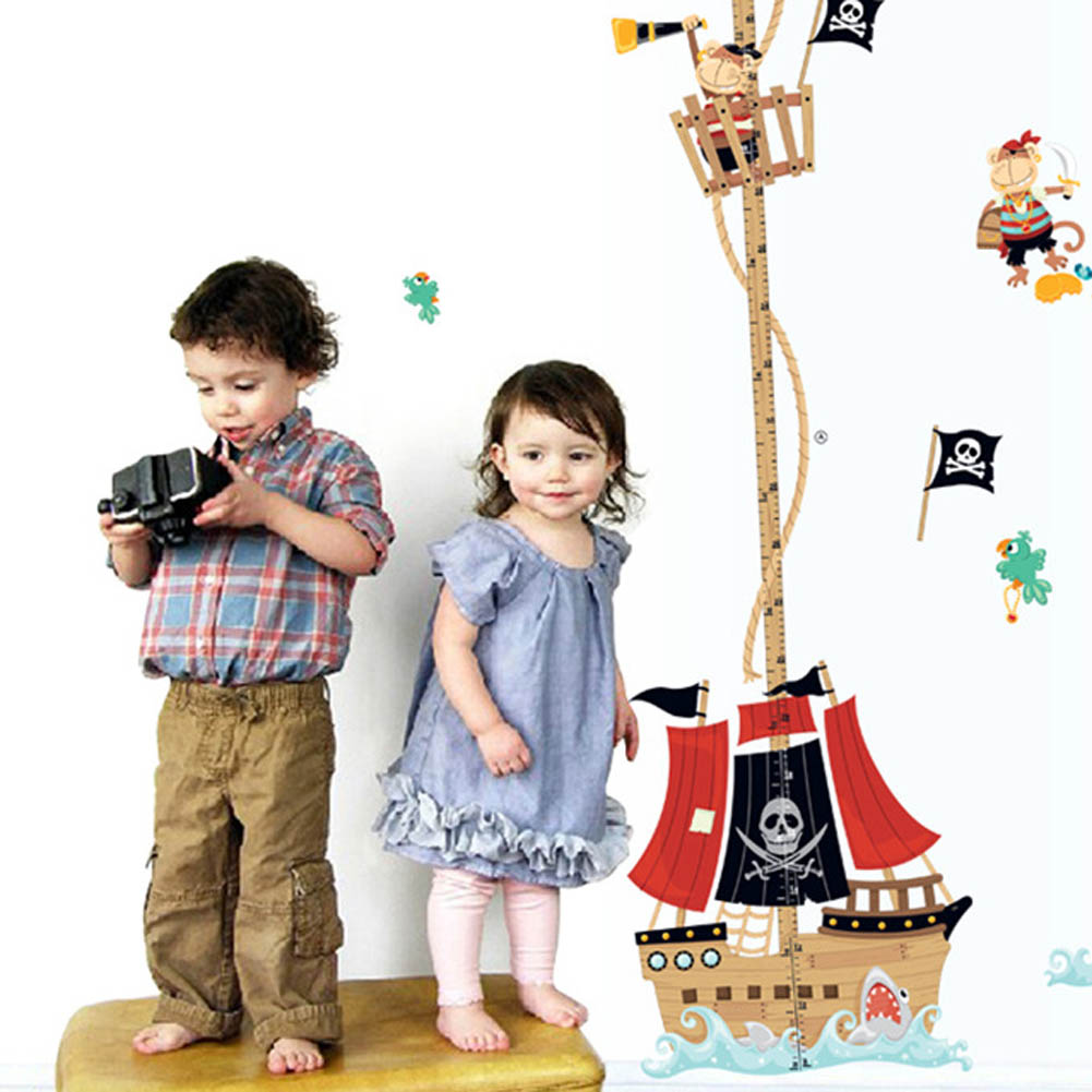 2018 cartoon Pirate Ship baby children height measure wall stickers for kids room decoration funny nursery decal growth chart