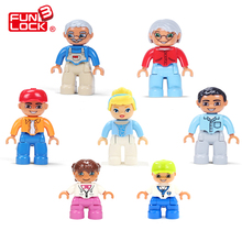 Funlock Duplo Figure Blocks My Family Father Mother Brother Sister Grandpa Grandma Kid Toys Assemble Bricks Part for Children