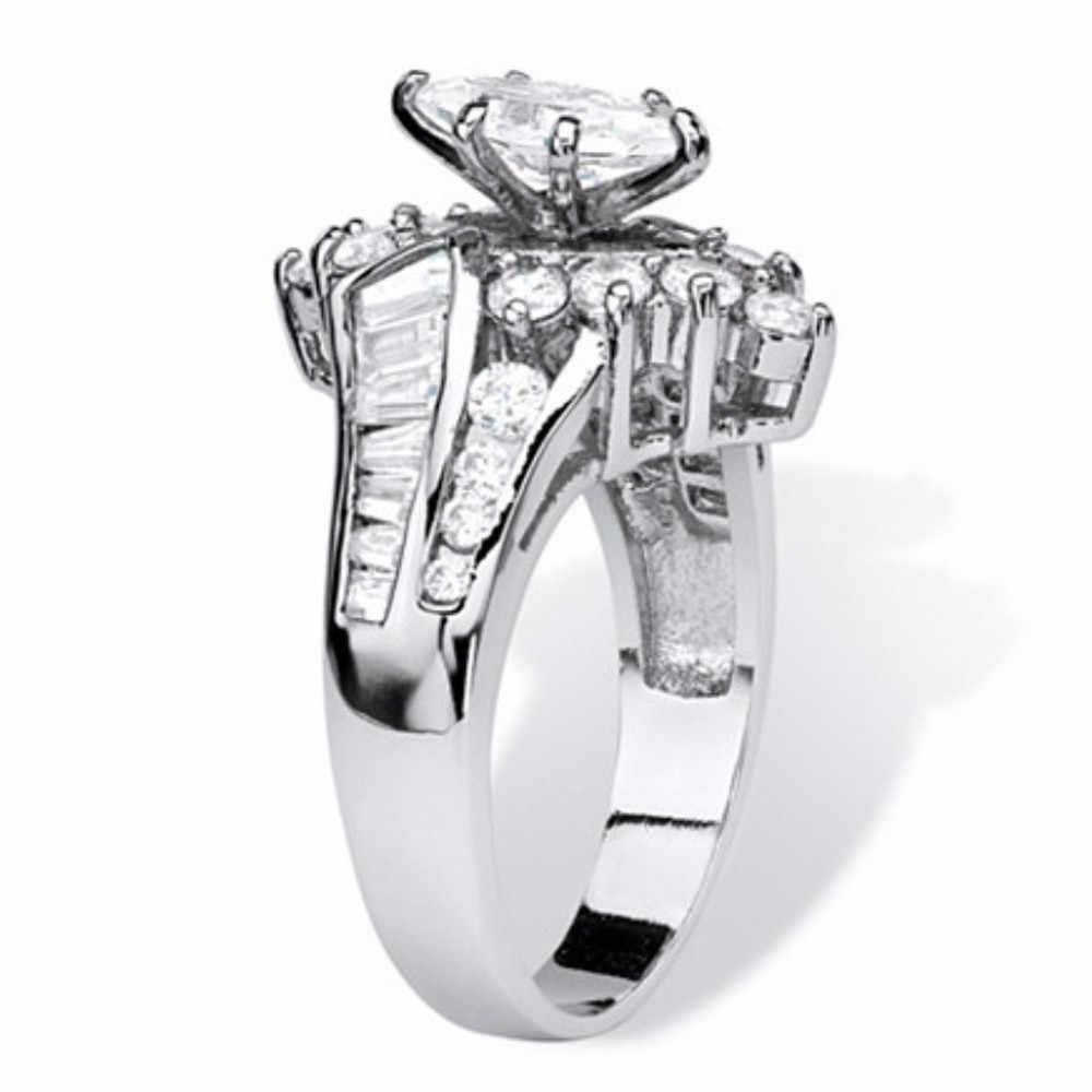 2019 ร้อนคริสตัลแหวนเงินทองสี CZ เครื่องประดับหมั้นครบรอบแหวน Anillos Mujer