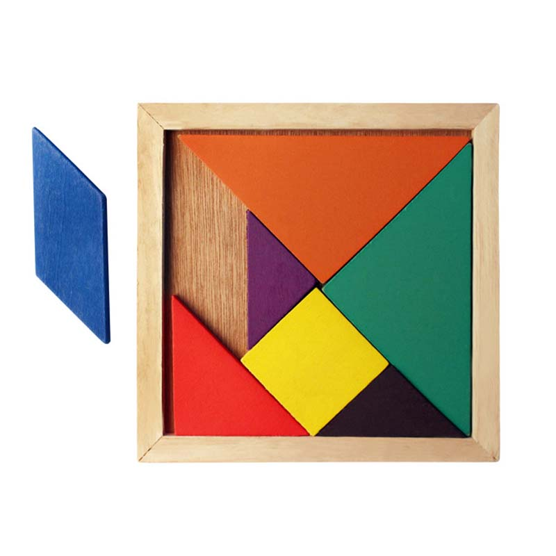 Montessori Wooden Tangram Jigsaw Puzzle Toy Geometry Shape Kids DIY Early Educational Toys For Children Development Game