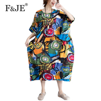 F JE 2017 Summer New Arts Style Women Loose Casual Batwing Sleeve Long Dress Vintage Print