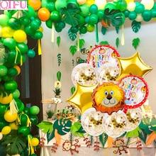 QIFU Safari Party Animal Balloons Jungle Decor Latex Balloon Figures Foil Number Baloon Birthday Decorations Kids