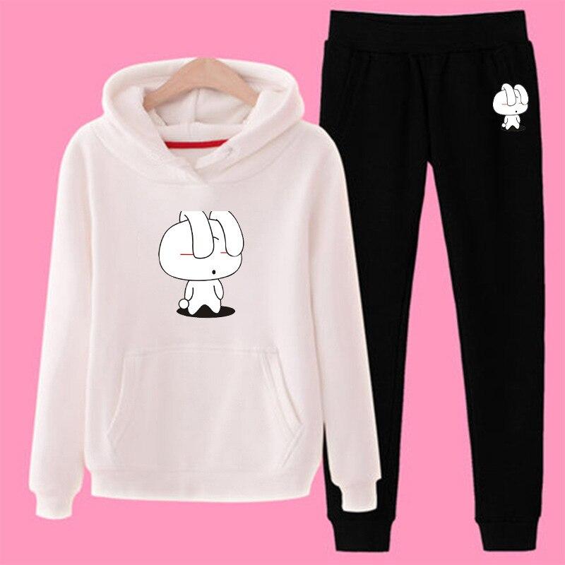 Women Cartoon Rabbit Print Tracksuit Gyms Set Casual Hoodies Sweatshirt Pants Suit Two Piece Sets Plus Size Tracksuit Sportswear in Women 39 s Sets from Women 39 s Clothing