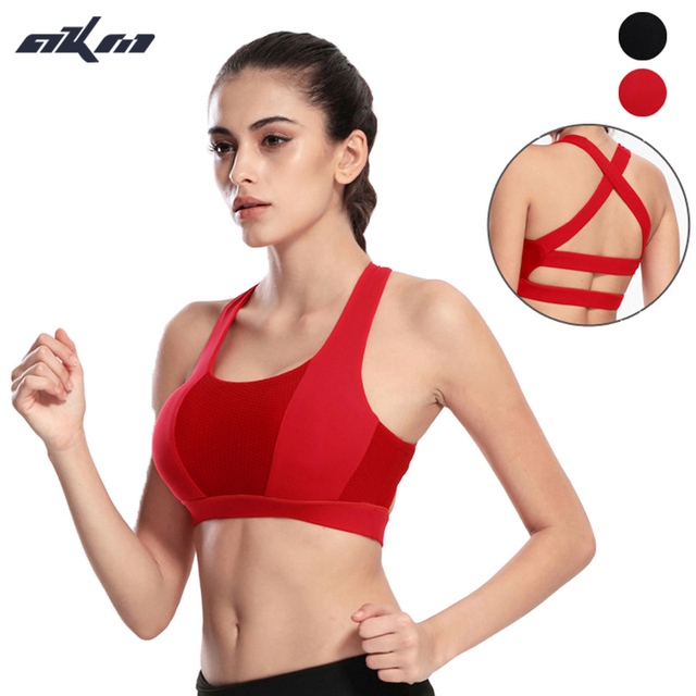 AKM  High quality Backless Wide Elastic Cross Straps Push Up Vests Removable Padding Shake Proof Breathable Underwear  Bras Top