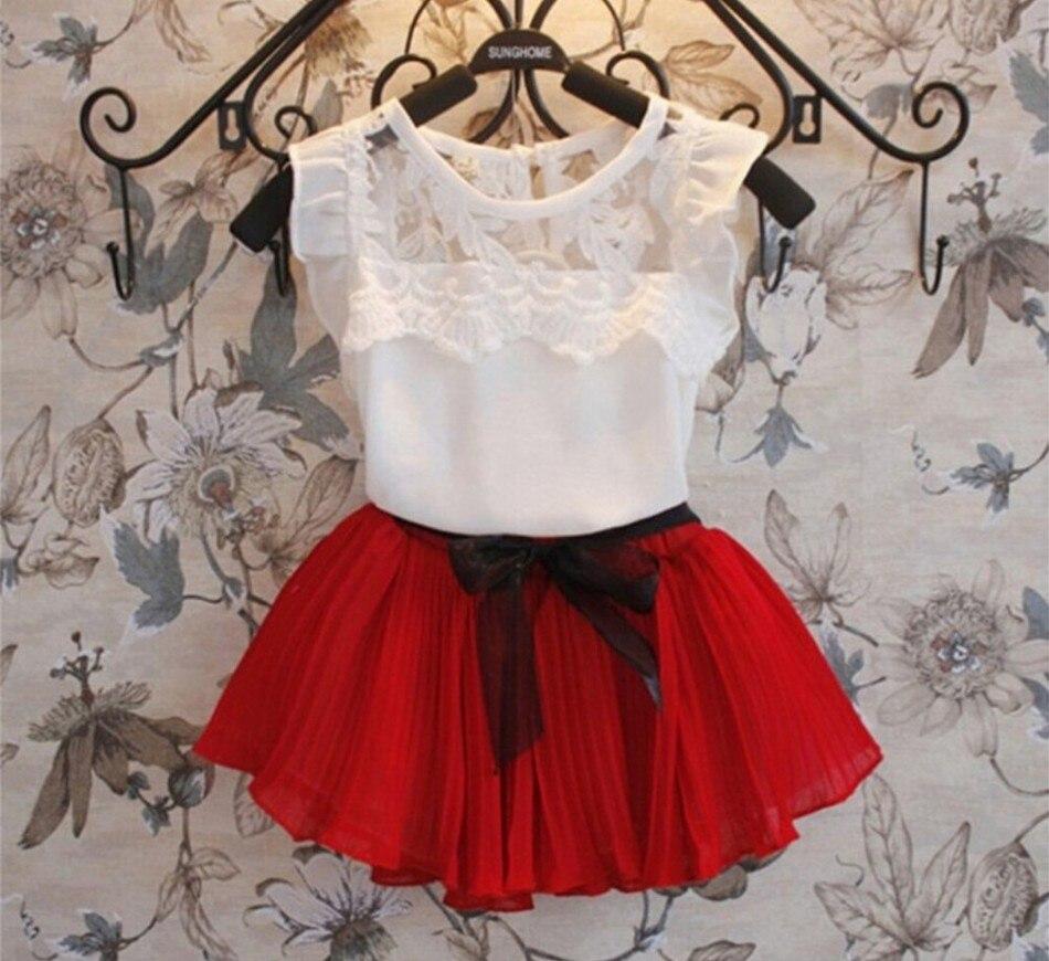 2016 mode enfants été bébé filles vêtements ensembles décontracté 2 pièces dentelle robe top vêtements ensembles filles été ensemble survêtement ensemble