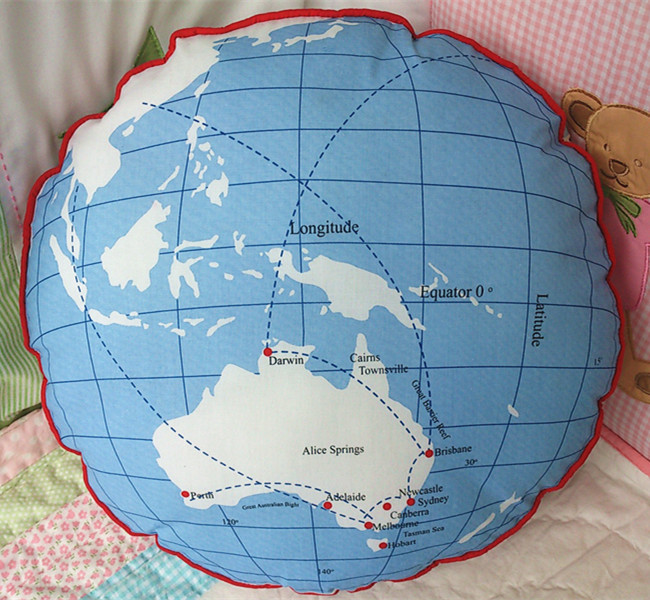 Australia Map Globe.Us 29 89 40cm Cotton Round Australia Map The Globe Cushion Pillow Children Gift Room Decor In Stuffed Plush Animals From Toys Hobbies On